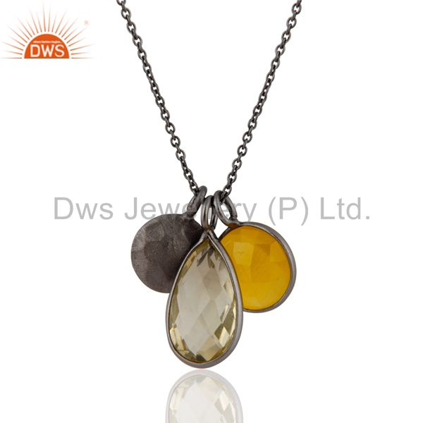 Black Rhodium Plated Sterling Silver Yellow Moonstone And Lemon Topaz Pendant