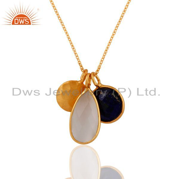18k gold plated 925 silver white moonstone and lapis lazuli pendant with chain