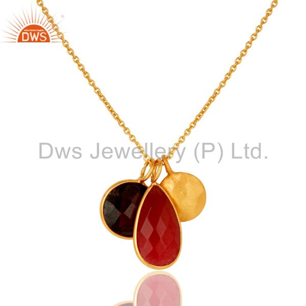 18K Gold Plated Sterling Silver Garnet And Red Aventurine Pendant With Chain