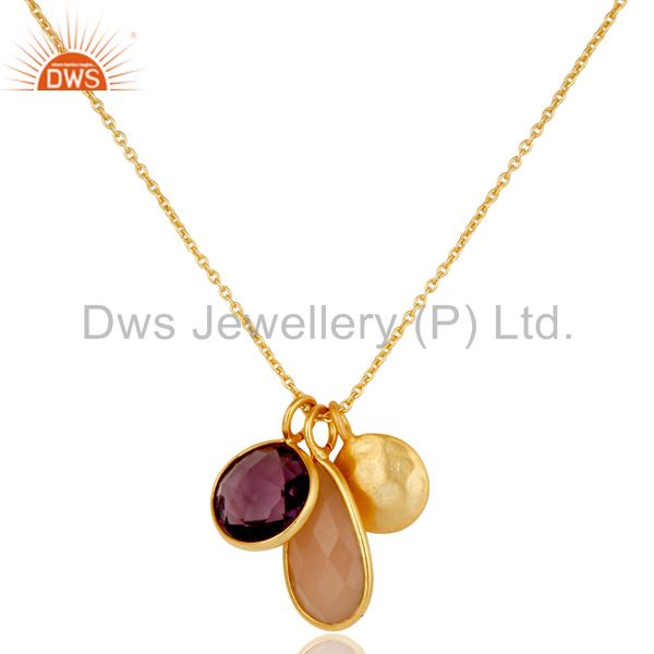 Amethyst & Chalcedony 18k Gold Plated Sterling Silver Bazel Set Chain Pendant