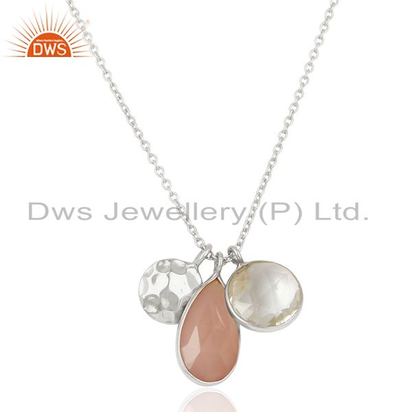Rose Chalcedony 925 Sterling Silver White Rhodium Multi Stone Chain Pendant