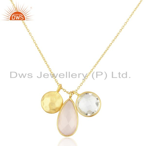 Crystal And Rose Chalcedony Triple Charm Gold Plated  Wholesale Silver Pendent