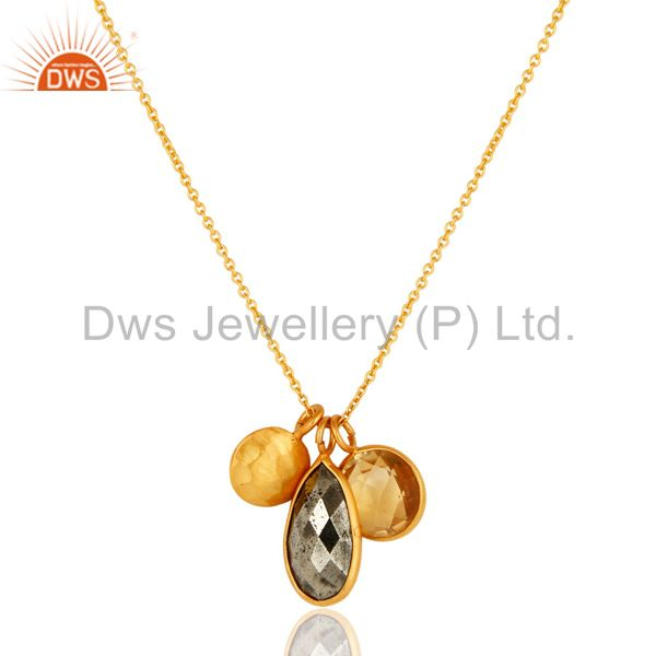 18K Gold Plated Sterling Silver Bezel Set Citrine & Pyrite Pendant With Chain