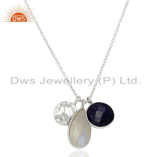 Rainbow Moonstone Multi Stone White Rhodium 925 Sterling Silver Chain Pendant