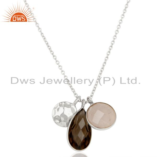 Rose and Smoky Quartz Gemstone 925 Sterling Silver Pendant Supplier