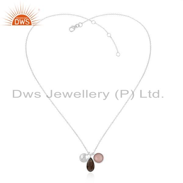 Rose Chalcedony Smoky Quartz Gemstone Fine Silver Pendant Jewelry