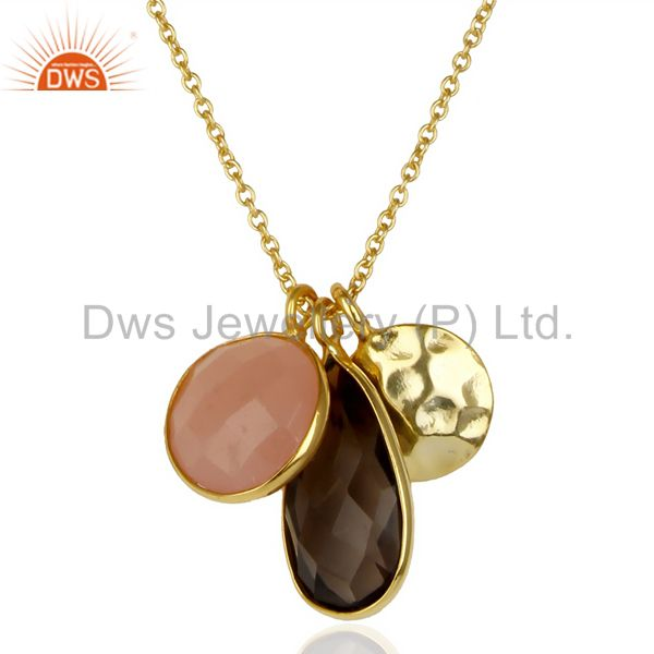 14K Gold Plated 925 Silver Smokey Dyed Chalcedony Bezel Set Chain Pendant