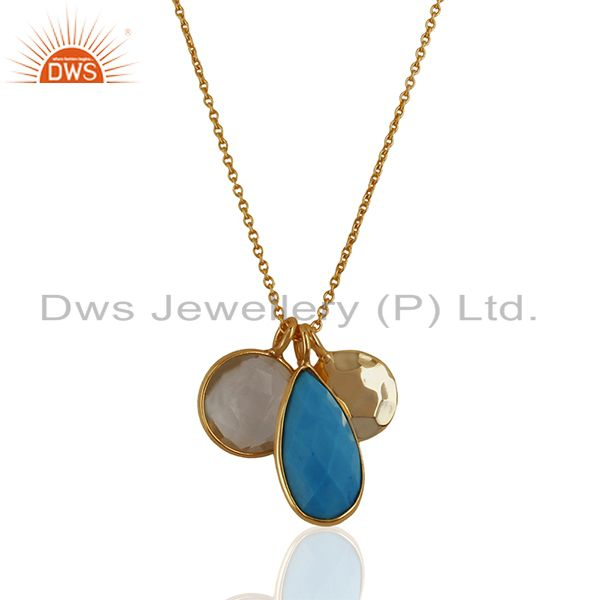 Designer Multi Gemstone 925 Silver Gold Plated Pendant Manufacturer