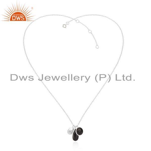 White rhodium plated 925 silver black onyx gemstone pendant supplier