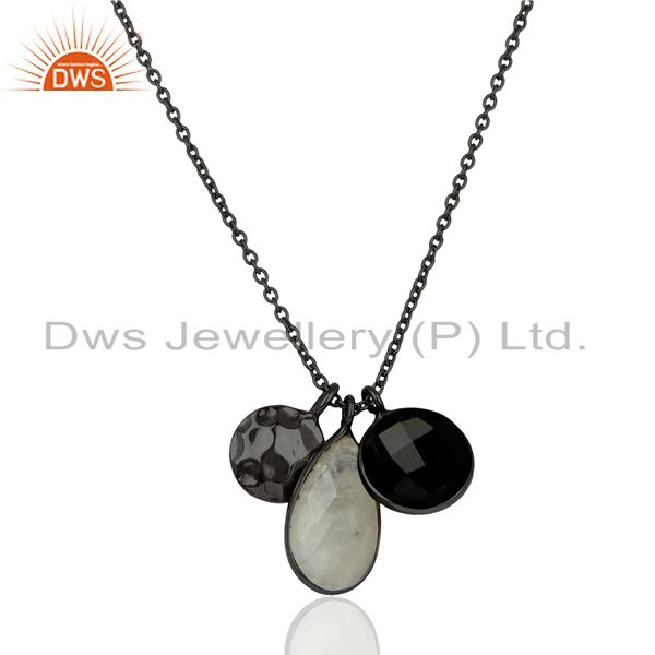 Rhodium plated silver rainbow moonstone black onyx gemstone pendant