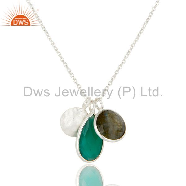 925 Sterling Silver Green Onyx And Labradorite Bezel Set Pendant With Chain