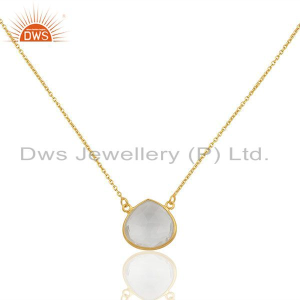 Crystal Quartz Gemstone 925 Silver Chain Pendant Jewelry Wholesale