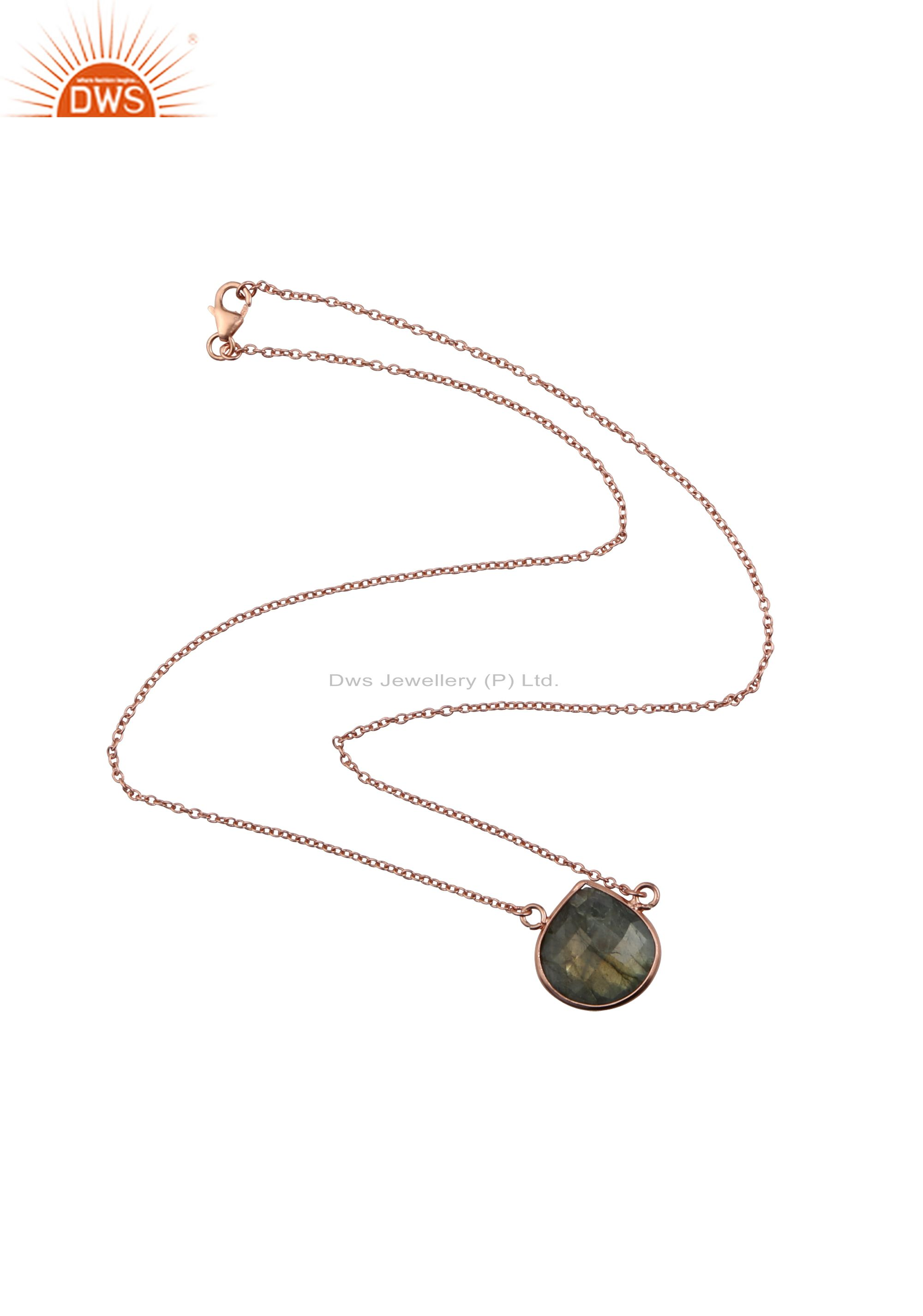 18k rose plated sterling silver labradorite gemstone pendant with chain