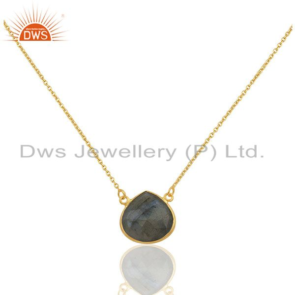 18k yellow gold plated sterling silver labradorite gemstone pendant with chain