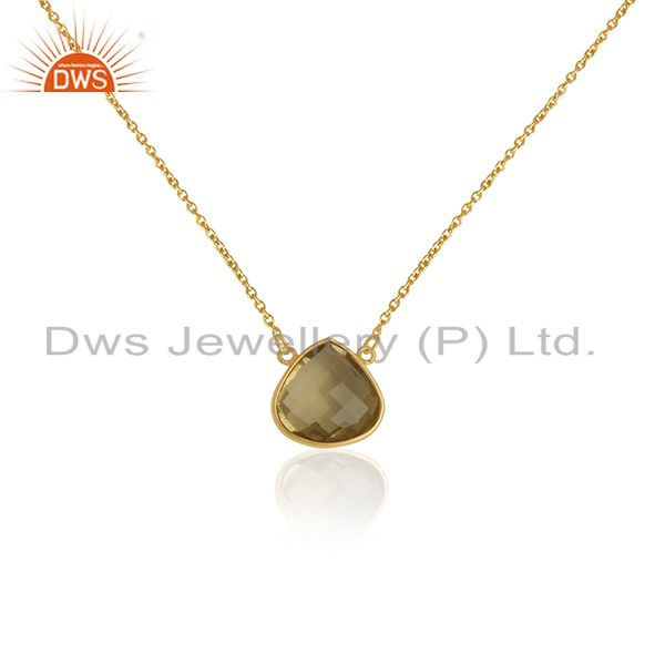 14K Yellow Gold Plated Sterling Silver Lemon Topaz Gemstone Chain Necklace