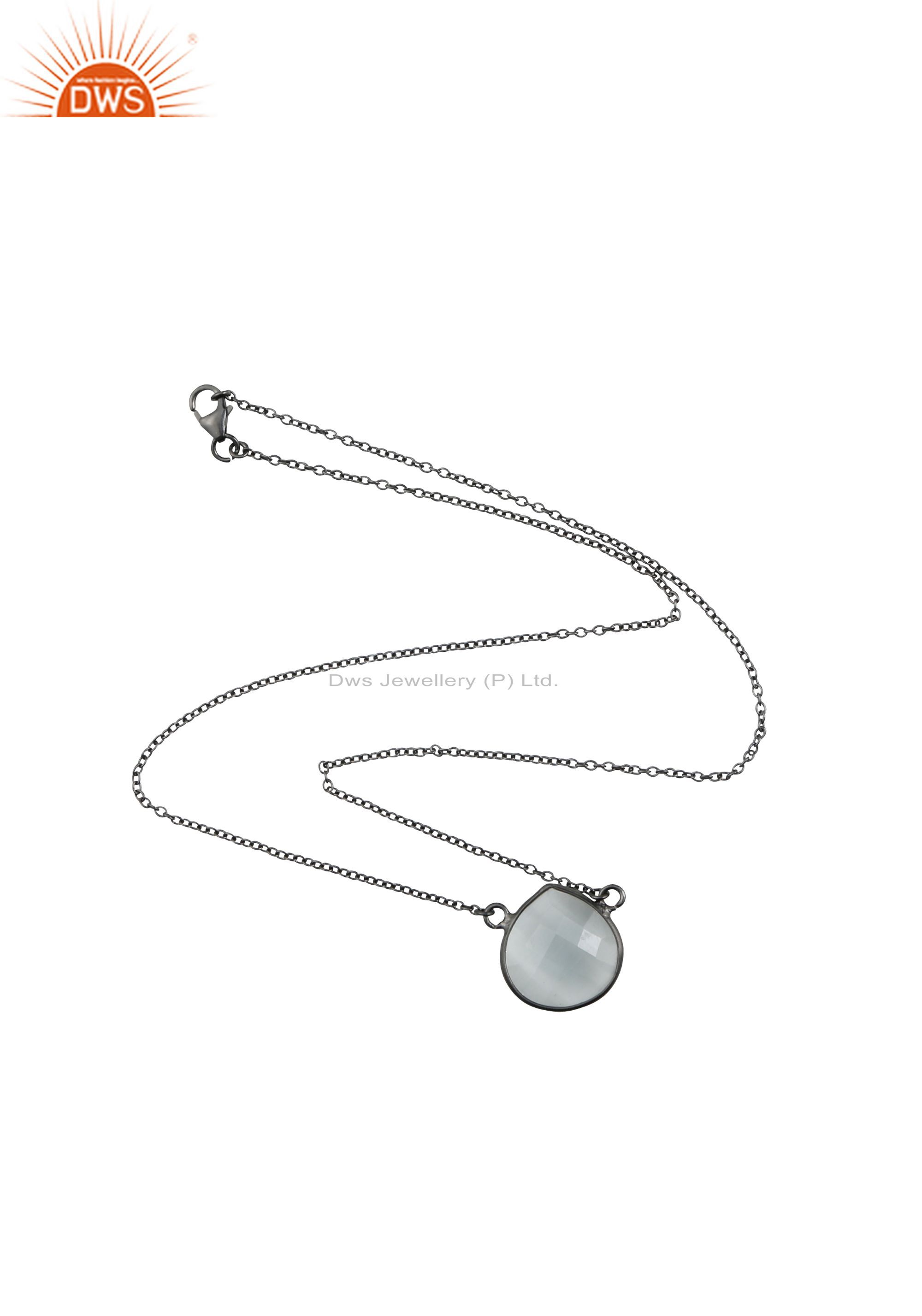 925 Sterling Silver Oxidized Faceted White Moonstone Pendant Chain Necklace