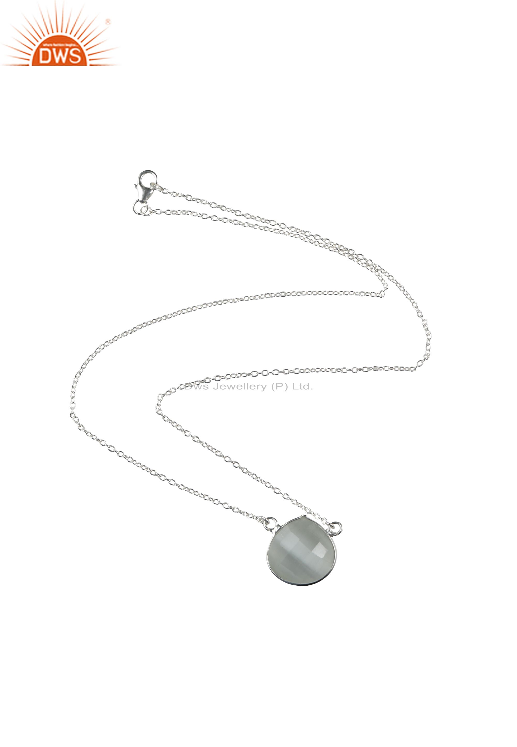 Handmade sterling silver faceted white moonstone bezel pendant chain necklace
