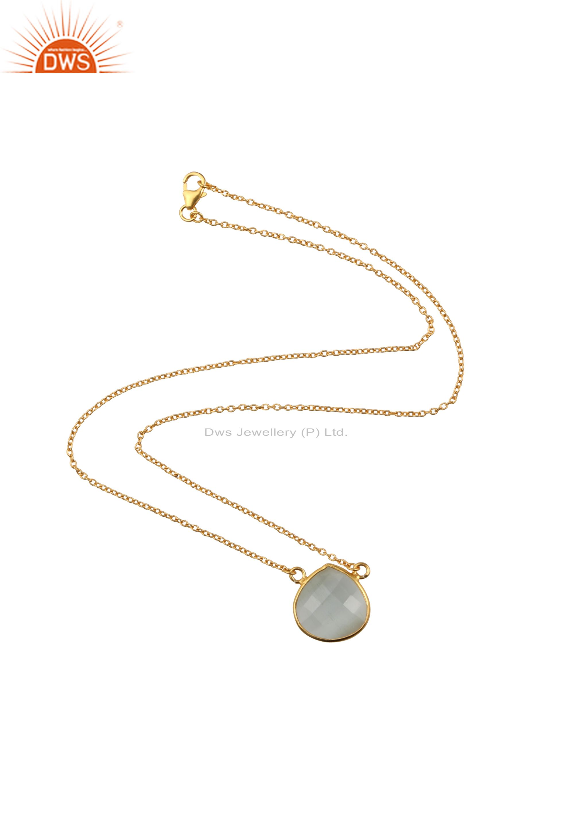 18K Yellow Gold Plated Sterling Silver White Moonstone Pendant Chain Necklace