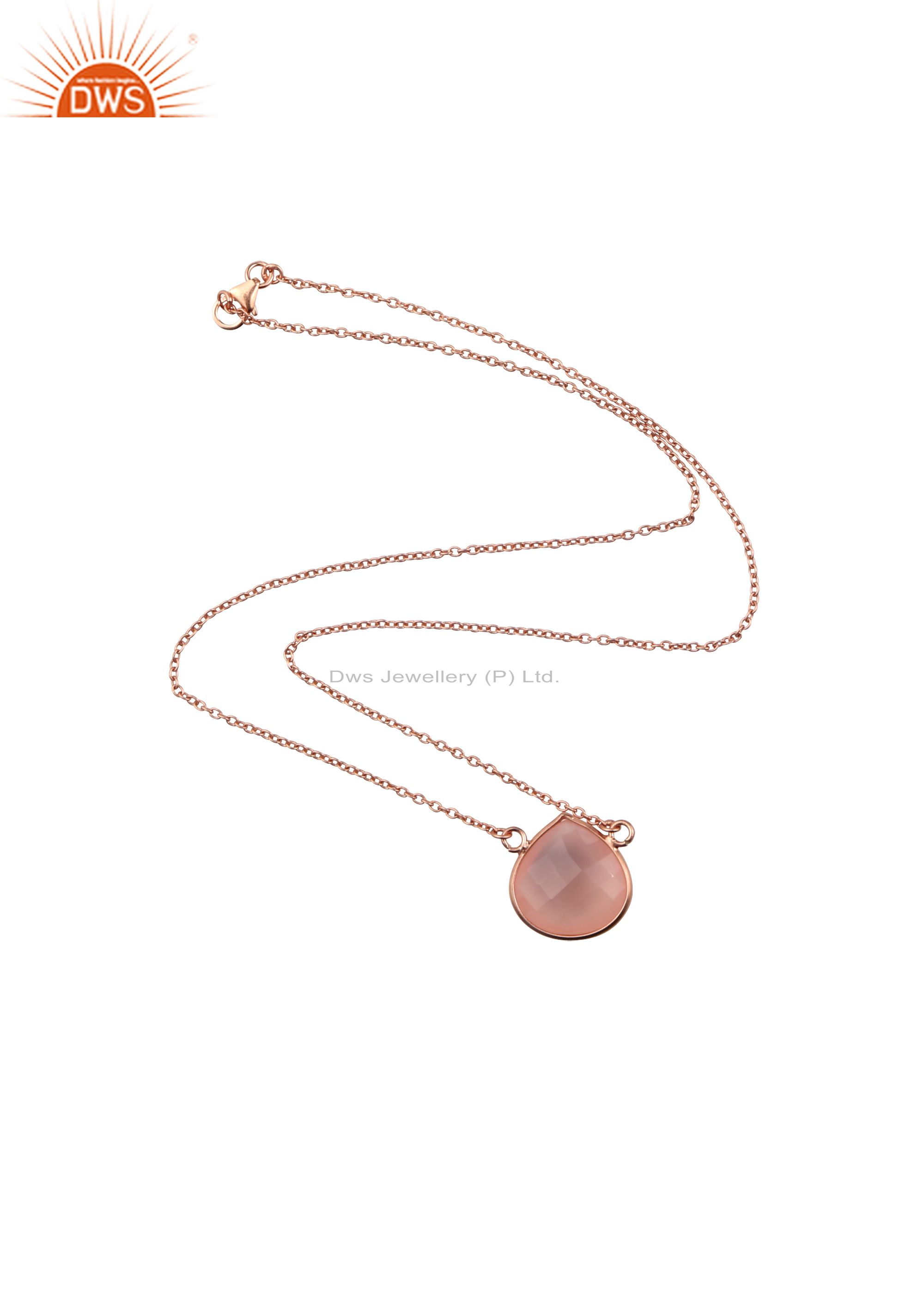 18K Rose Gold Plated Sterling Silver Rose Chalcedony Drop Pendant With Chain