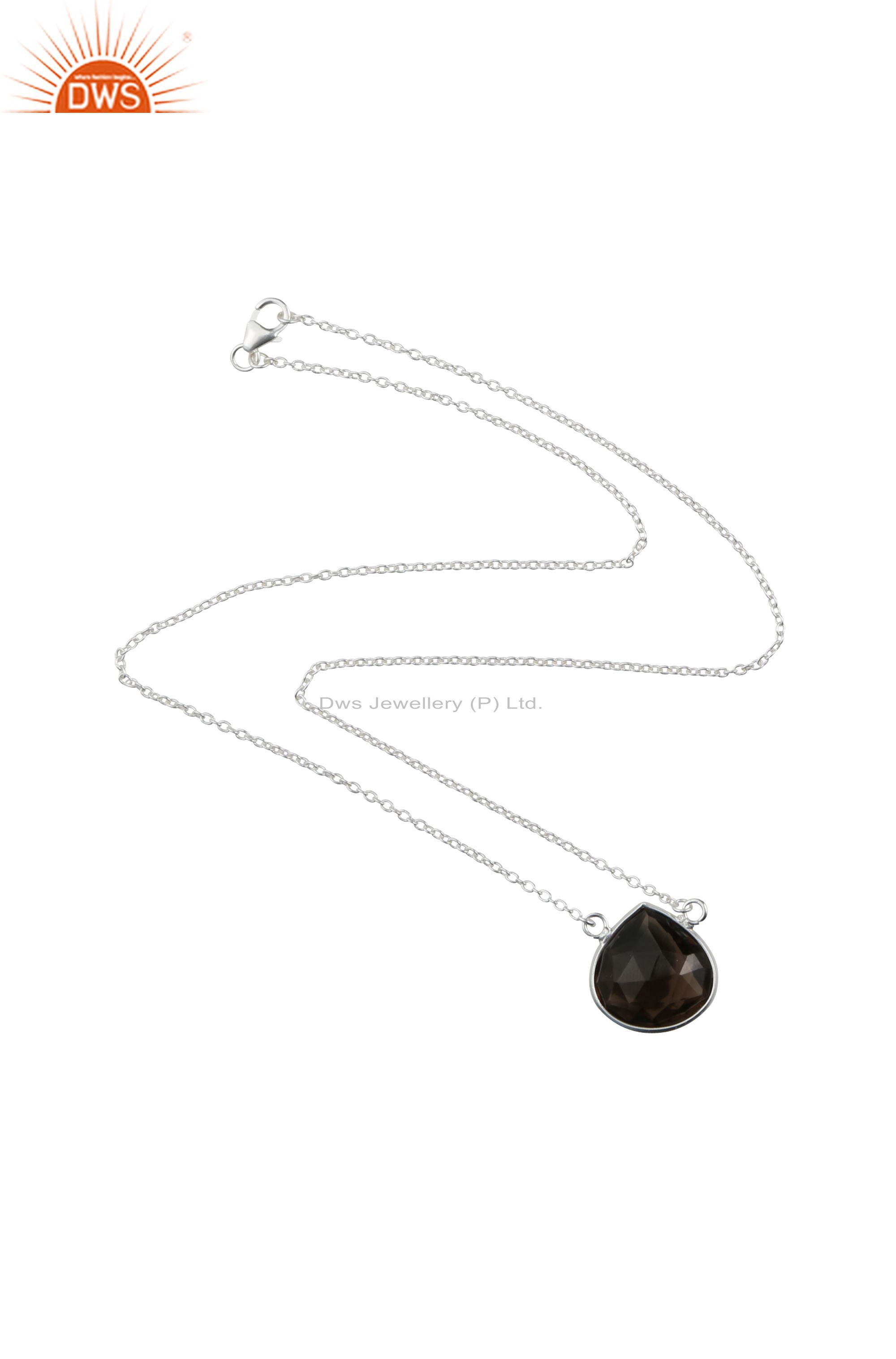 Handmade sterling silver faceted smoky quartz gemstone chain necklace