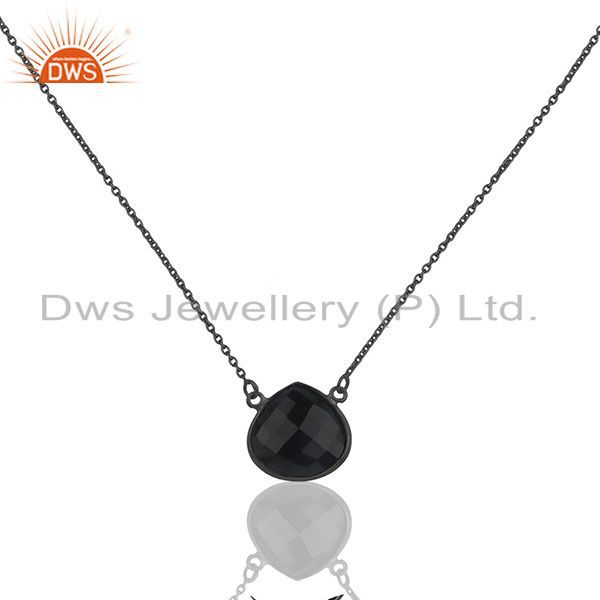 Oxidized solid sterling silver black onyx faceted gemstone chain necklace