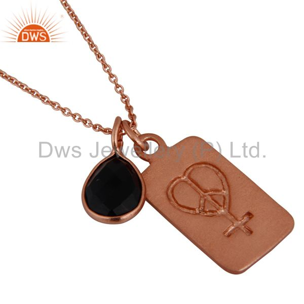 18K Rose Gold Plated Sterling Silver Black Onyx Gemstone Bezel Set Pendant