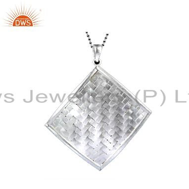 Handcrafted solid sterling silver woven pattern designer pendant with chain