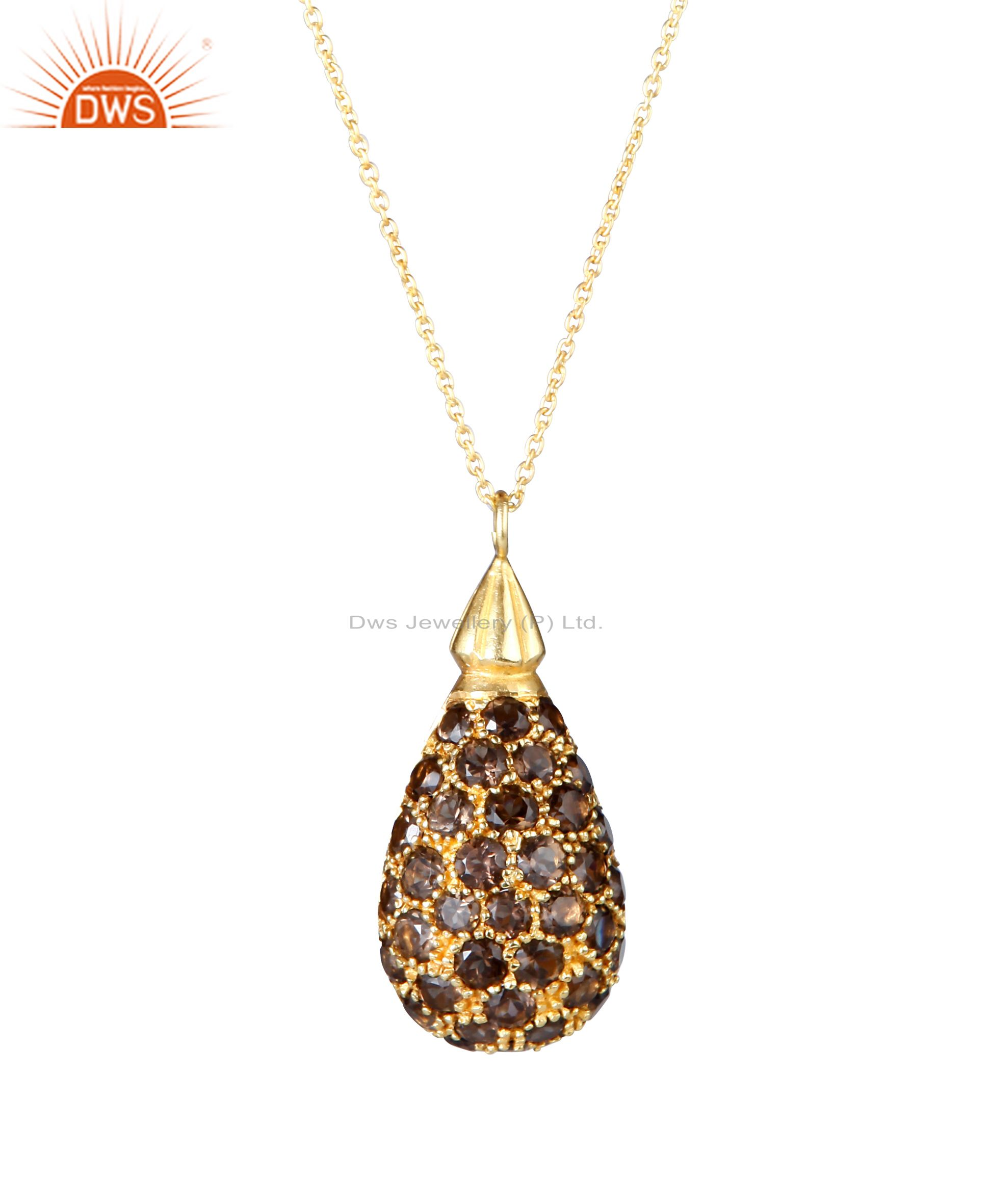 18K Yellow Gold Plated Sterling Silver Smoky Quartz Drop Pendant With Chain