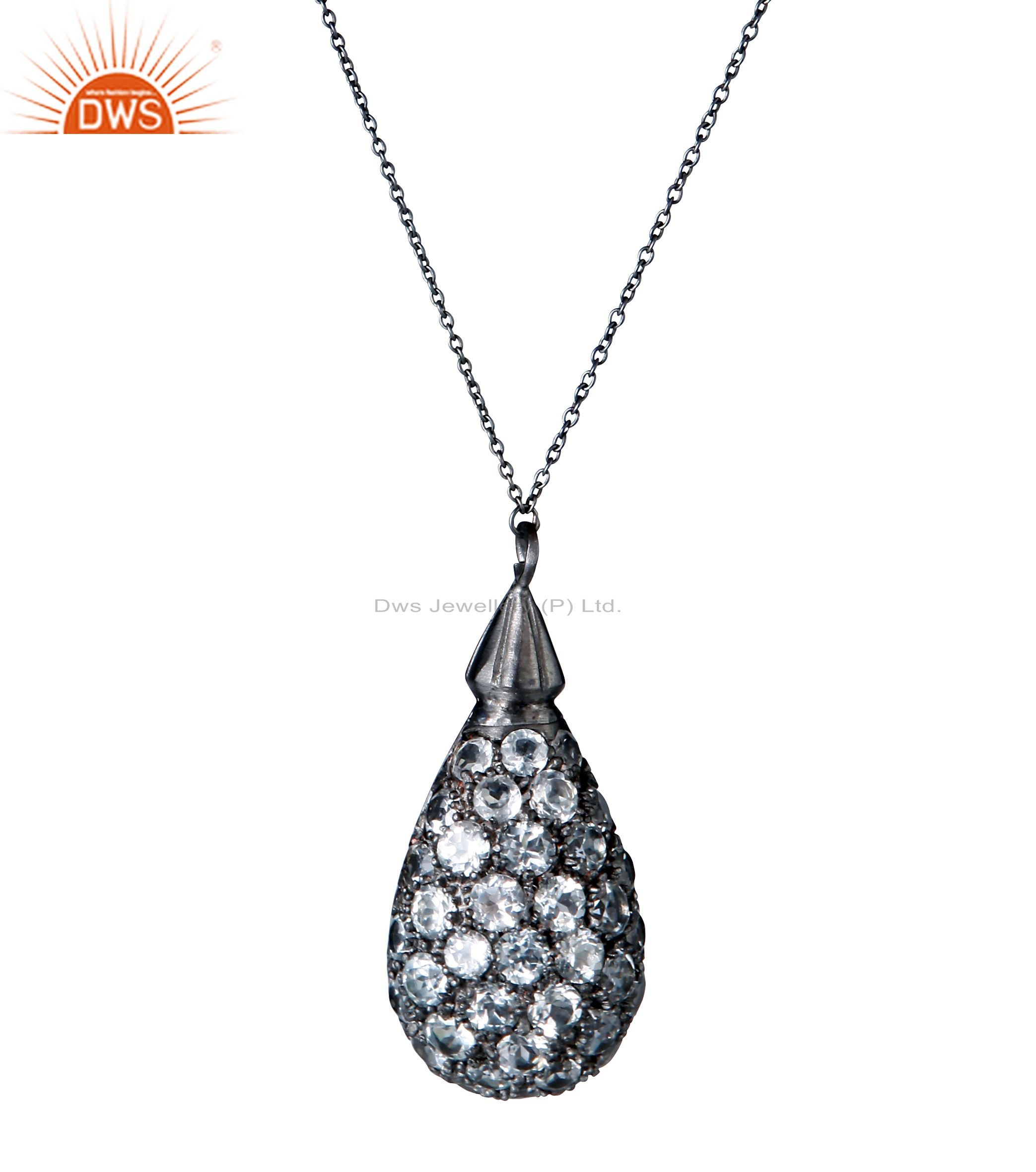 Black Rhodium Plated Sterling Silver White Topaz Drop Pendant With Chain