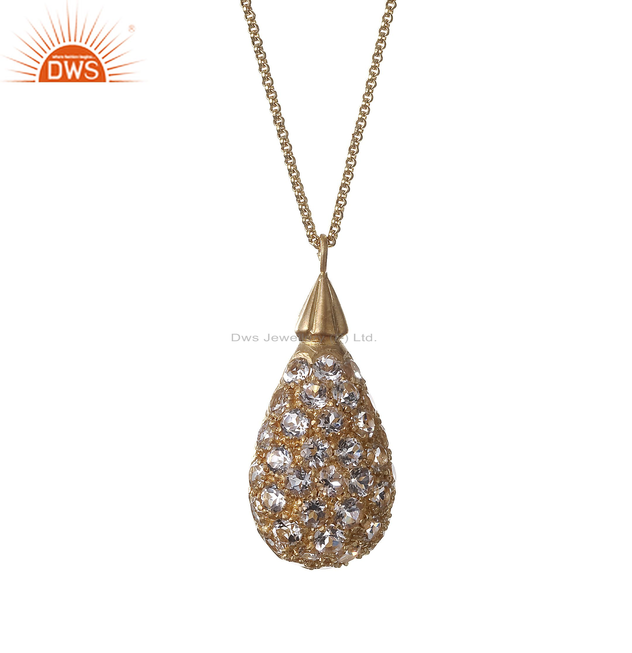 18k rose gold plated sterling silver white topaz drop pendant with chain