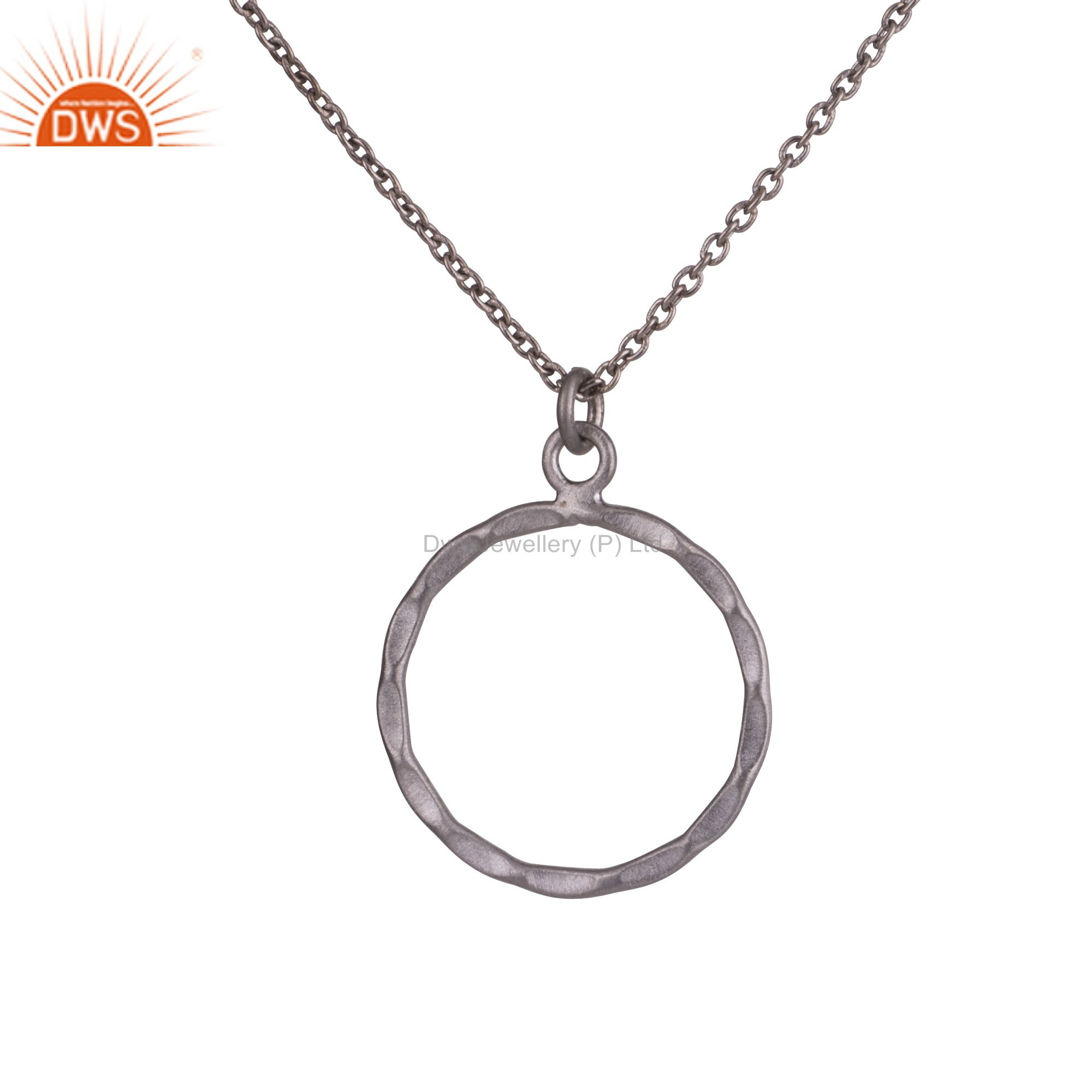 "Black Rhodium Plated Sterling Silver Hammered Circle Pendant With 16"" Inch Chain"