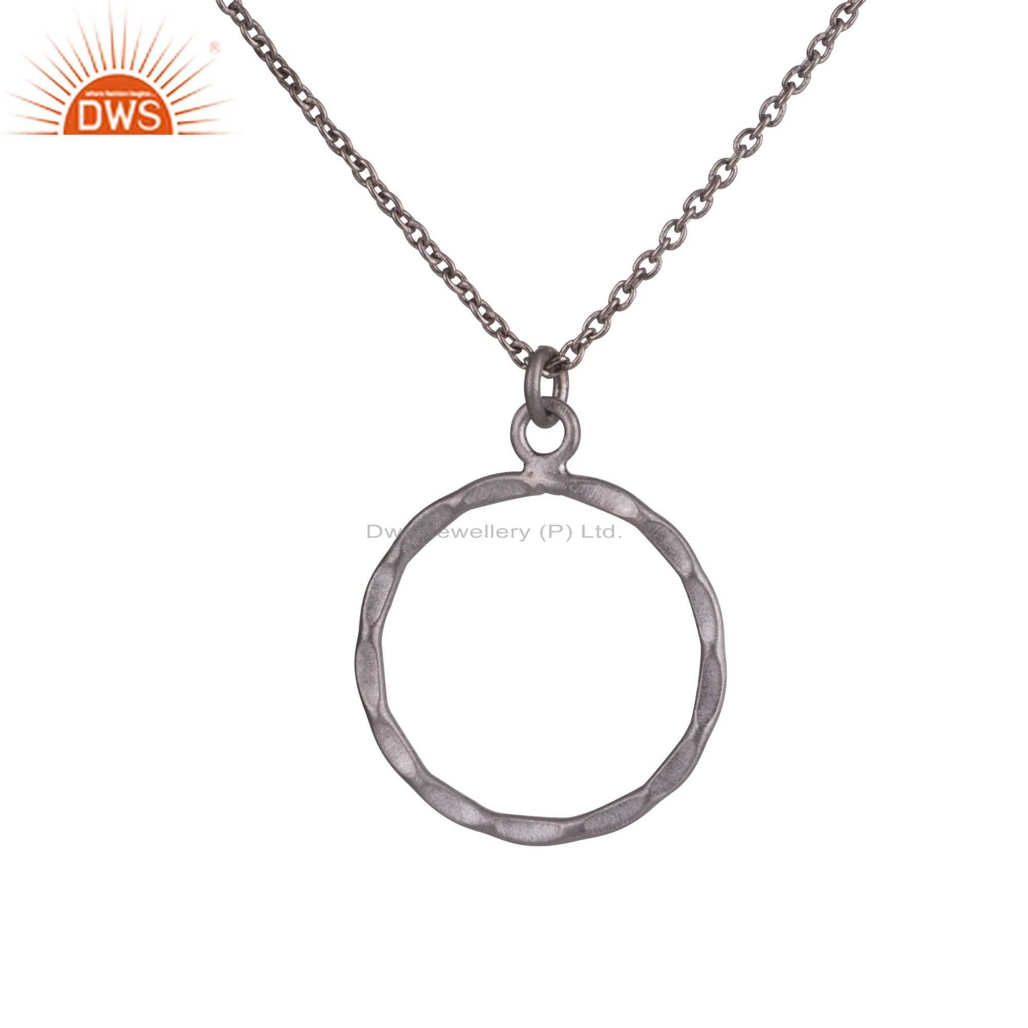 925 sterling silver oxidized hammered circle pendant with cable chain necklace