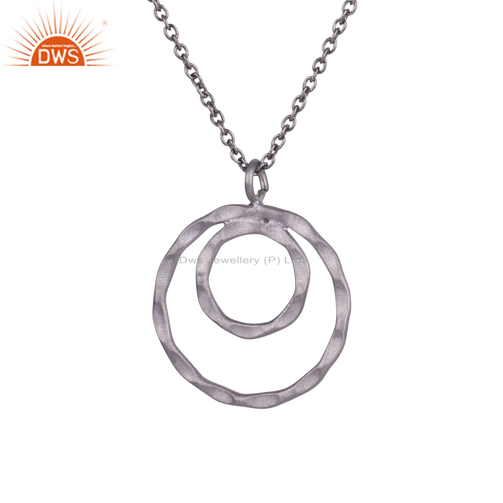 925 Sterling Silver Oxidized Hammered Two Circle Pendant With Chain Necklace