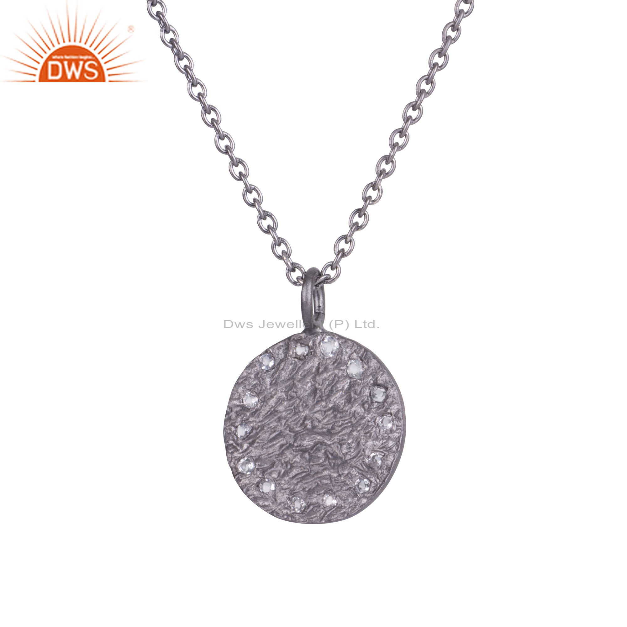 Oxidized Sterling Silver White Topaz Hammered Disc Pendant With Chain Necklace