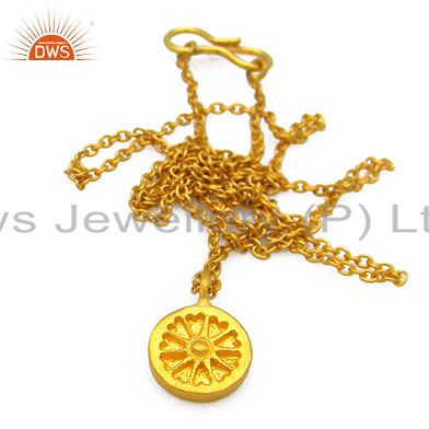 18K Yellow Gold Plated Sterling Silver Wheel Engraved Pendant With Chain