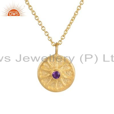 18K Yellow Gold Plated Sterling Silver Amethyst Gemstone Pendant With Chain