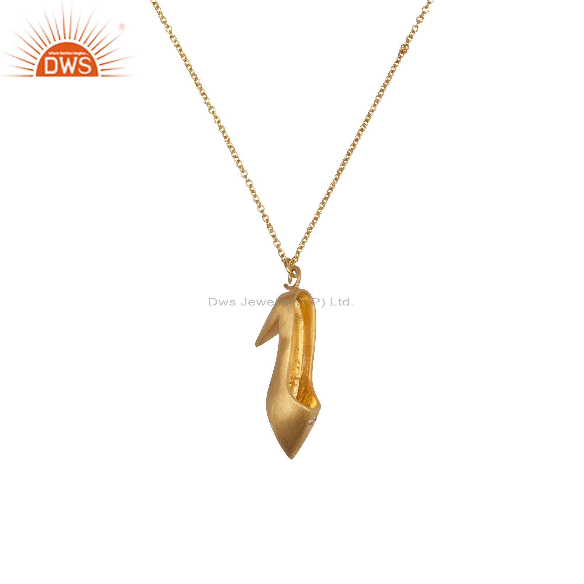 18k yellow gold plated sterling silver white topaz high heel shoe chain necklace