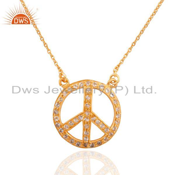 14k gold plated sterling silver white topaz peace-sign pendant necklace