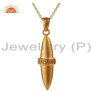18K Yellow Gold Plated Sterling Silver Smoky Quartz Bullet Design Pendant