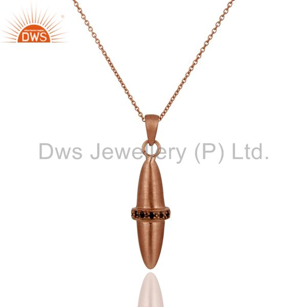 18K Rose Gold Over Sterling Silver Smoky Quartz Bullet Charm Pendant With Chain