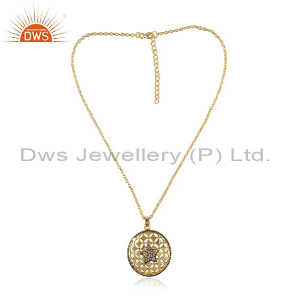 CZ Set Gilt Meta Art Gold On 925 Silver Pendant And Chain