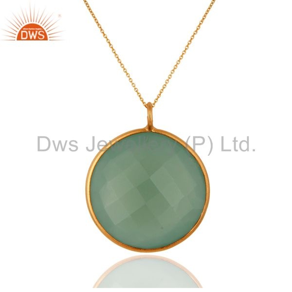 18k gold over silver faceted green chalcedony gemstone bezel pendant with chain