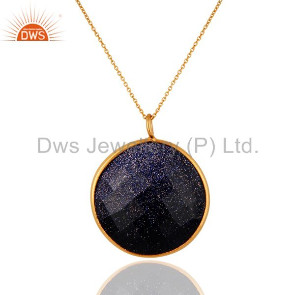 18K Gold Plated Sterling Silver Blue Sun Sitara Bezel Set Pendant With Chain
