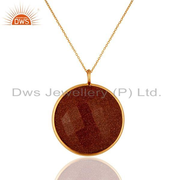 18k gold plated sterling silver red sun sitara bezel set pendant with chain