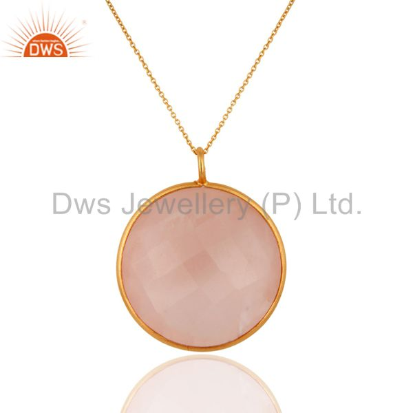 Faceted Rose Chalcedony Bezel Set Pendant 18K Gold Over Sterling Silver