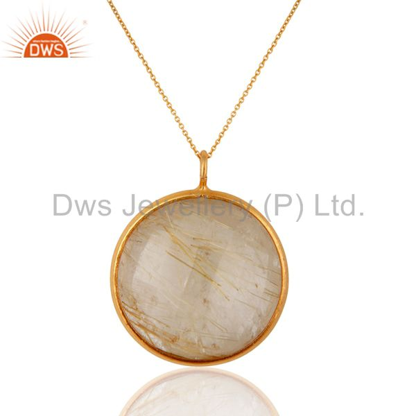 Faceted Rutilated Quartz Bezel-Set Pendant Necklace In 18K Gold On 925 Silver