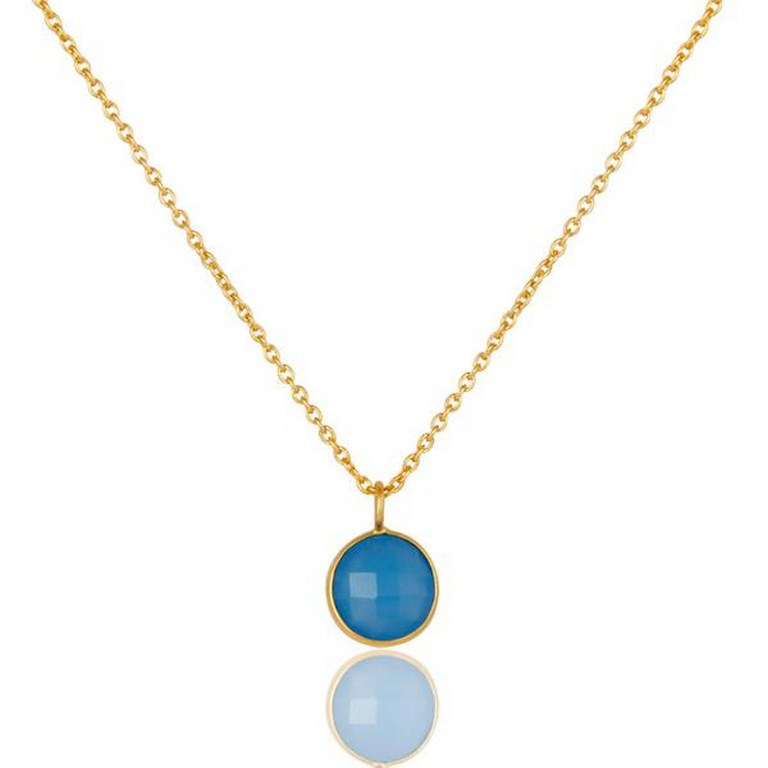 Faceted blue chalcedony gemstone bezel set 18k gold plated pendant with chain