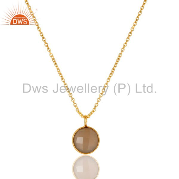 18K Gold Plated Dyed Faceted Chalcedony Bezel Set Brass Chain Pendant