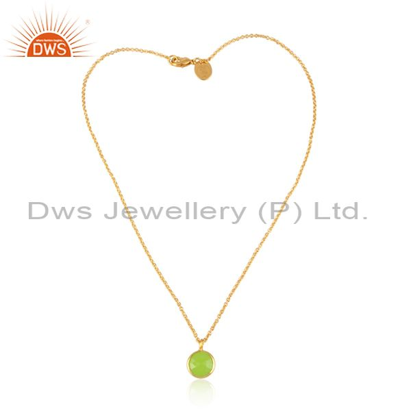 Green chalcedony pendant and brass gold statement necklace