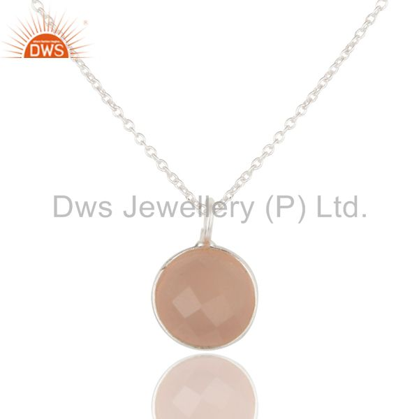 Dyed Chalcedony Round Cut Brass Chain Pendant Necklace With Solid Silver Plated